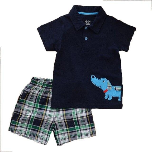 new 2016 baby boys  summer cotton cartoon printing lapel T-shirt + plaid  casual fashion shorts clothing set free shipping