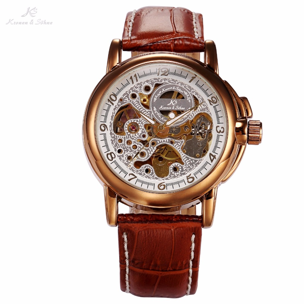 Luxury KS Golden Stainless Steel Case Skeleton Dial Men Automatic Mechanical Brown Leather Strap Wrist Men's Dress Watch / KS037 2017 hot sale luxury luminous automatic mechanical skeleton dial stainless steel band wrist watch men women best christmas gift
