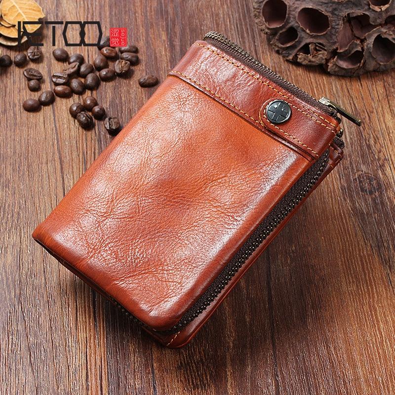AETOO Handmade leather men s wallet vintage old vertical buckle zipper purse short paragraph multi card
