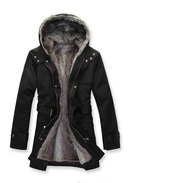 Free shipping 2016 Winter Men wadded Jacket thickening coat wool with a hood slim wadded jacket long outerwear large size M-XXXL