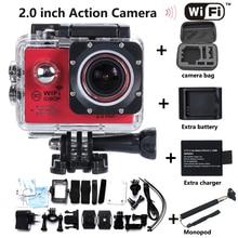 Estilo caliente WiFi Actom 14MP cámara Del Deporte Full HD 1080 P Buceo 30 M Impermeable Complemento batería + cargador + Monopod + bolso de la cámara Envío gratis
