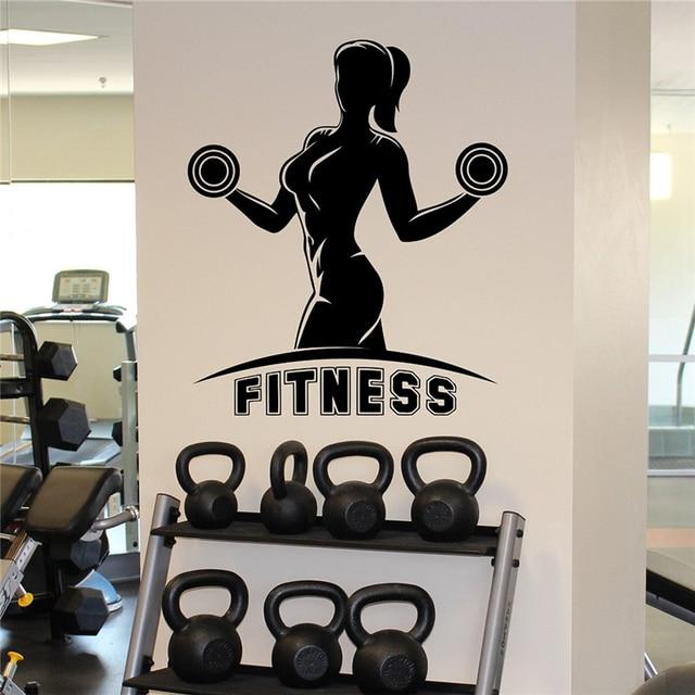 Woman gym wall sticker fitness female sport vinyl sticker home