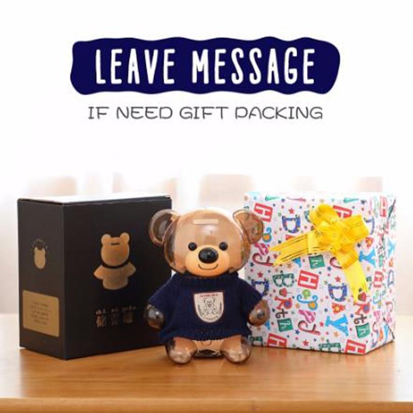 Купить с кэшбэком Plastic Money Safe Box Cartoon Sweater Bear Electronic Piggy Bank Transparent Child Kid Coins Collector Lovely Christma Present
