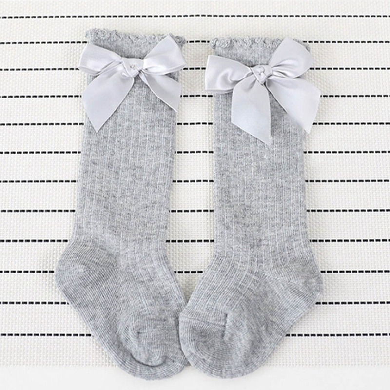 Baby Girls Socks Knee High With Bows Princess Socks Girl Cute Baby Socks Long Tube Kids Child Booties Vertical Striped Wear