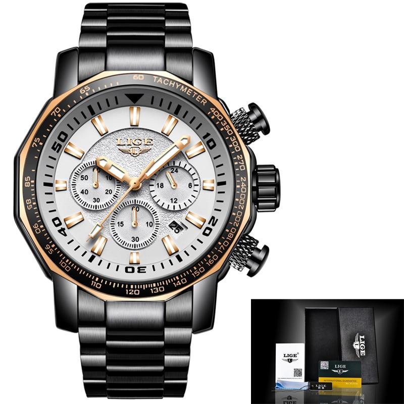LIGE Mens Watches Top Luxury Brand Men's Military Waterproof Sport Watch Stainless Steel Big Dial Quartz Clock Relogio Masculino цена