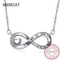Modern Dainty I LOVE YOU TO THE MOON AND BACK Necklace 925 Sterling Silver Infinity Necklaces Minimalist Gift for Best Friend