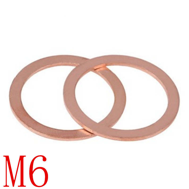 100PCS m6 Copper washer M6 M6*8910111214 Sealing Washer For Boat Crush Washer Flat Seal Ring washer