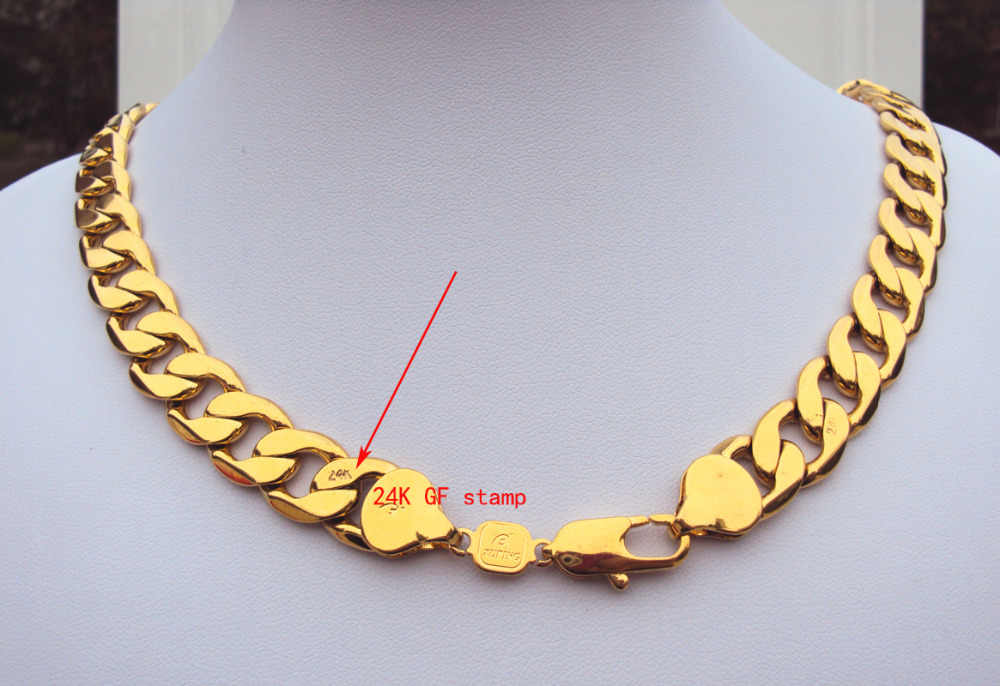 cdd1230eaf72b Heavy! 108g 24k GF Stamp Yellow Gold 23.6 Men's Necklace 12MM Curb Chain  Jewelry Best Packaged with 7 days no reason to refund.
