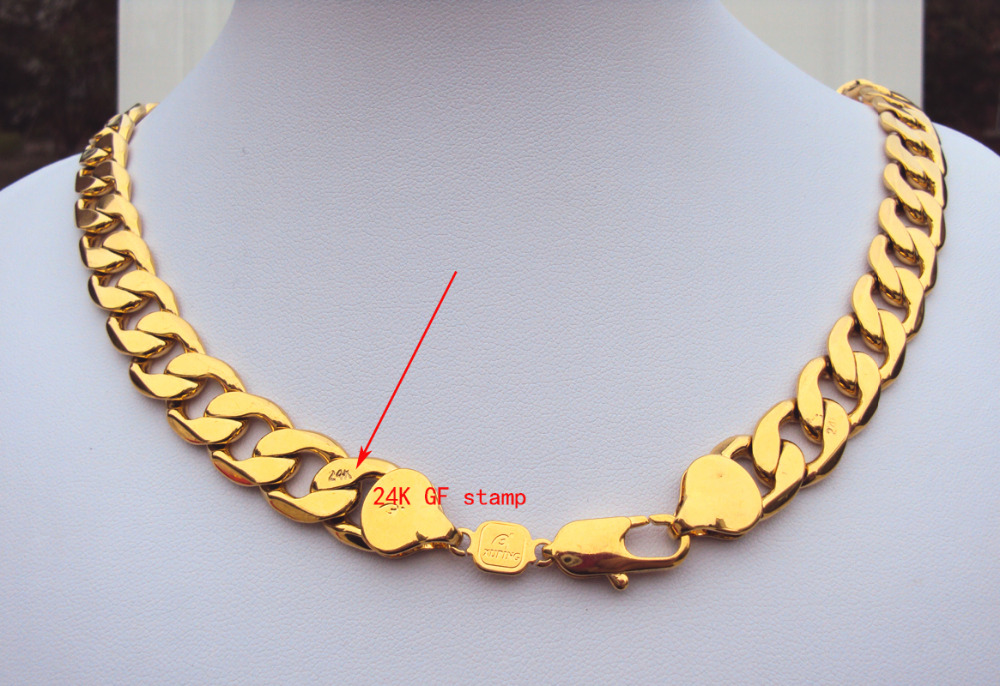 Heavy! 108g 24k GF Stamp Yellow Gold 23.6 Men's Necklace 12MM Curb Chain Jewelry Best Packaged with 7 days no reason to refund. yellow days montreal