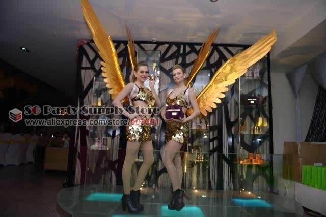 Livraison gratuite ailes de plumes d'ange en or de luxe pour adultes femmes fête et spectacle de scène ailes d'étoiles produits cosplay