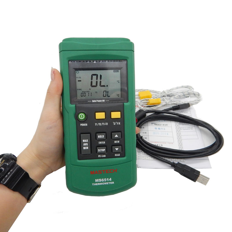 MS6514 Dual Channel font b Digital b font Thermometer Temperature Logger Tester USB Interface 1000 Sets