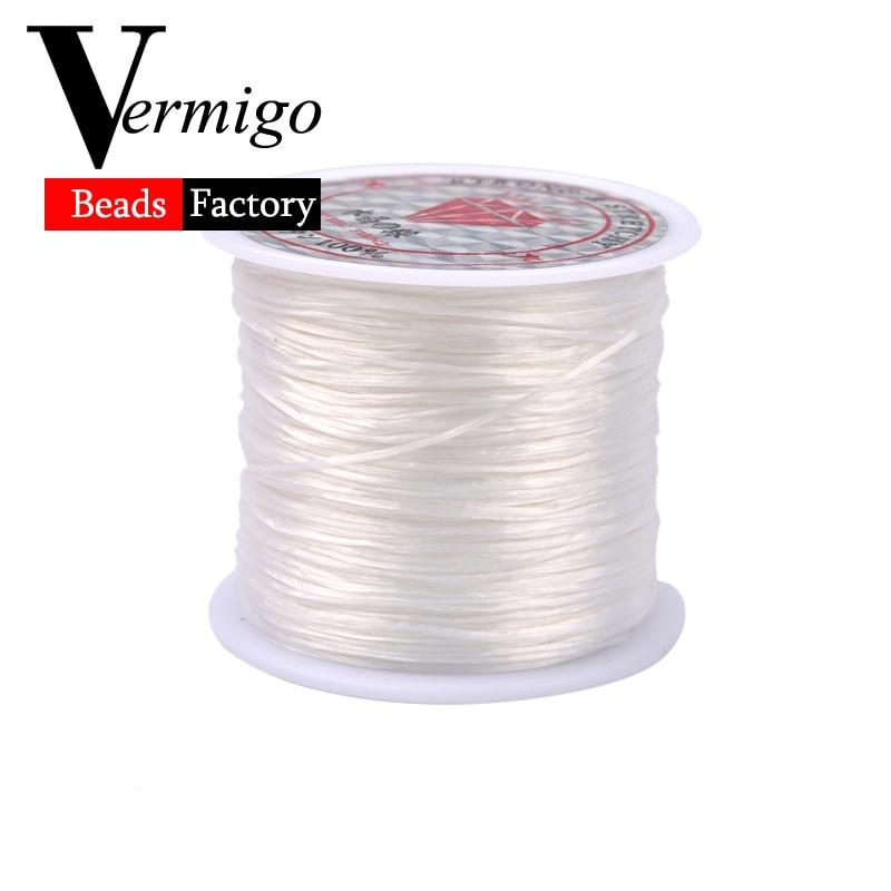 60M Roll Clear//Black Crystal Line Cord Stretchy Elastic Beading Jewelry CraftDIY