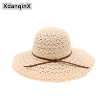 XdanqinX Summer New Style Womens Straw Hat Foldable Lace Hollowed Sun Hats For Women Sunscreen Ventilate Youth Female Beach