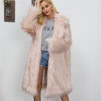Turn Down Collar 2017 Fashion Women Cardigan Faux Fur Coat Winter Overcoat Jacket Long Hair Long Jackets Faux Fur Coats A10174