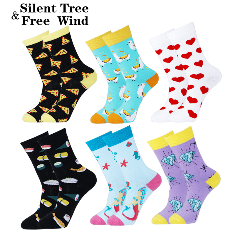Novelty Cute Women Mermaid Alpaca Animal Cotton   Socks   Funny Girls Clown Leopard Pizza Sushi Heart Diamond Wedding Gift   Socks