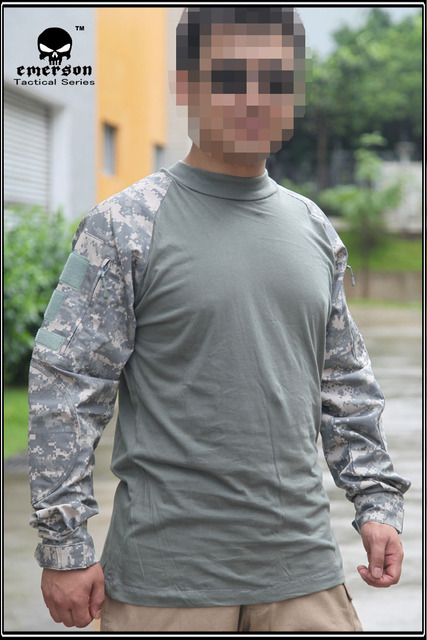 ff4debb8 Emerson Combat Shirts Military Airsoft Round Collar Tactical Long Sleeve T- shirts EM8461 ACU