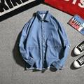 2017 Japanese spring denim shirt personality big hoop hole jacket water leisure tide restoring ancient ways jacket blue/black