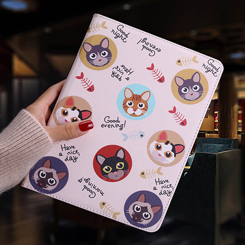 Tablet protective case For ipad pro 10.5 Flip smart stand cover pu leather Cute cat Cartoon illustration Case For ipad pro 10 (1)