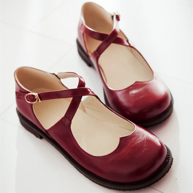 New Style Vintage Round Toe Mary Jane Flat Shoes For Woman Low-Heel Sweet  Cute 076cbffb38cc