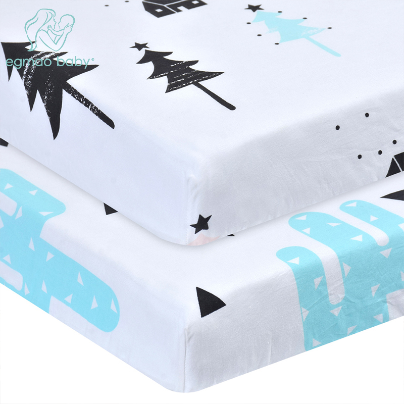 Soft Cotton Knit Fitted Portable Crib Sheets Fitted Toddler Mattress Sheets For Newborn Stretchy Sheet Bedding 1 Pcs 130*70 CM