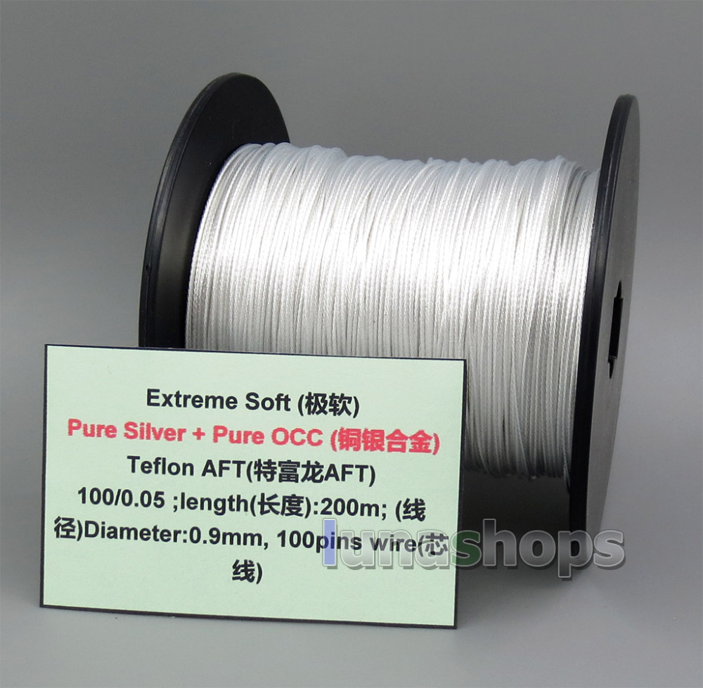 200m Extreme Soft Pure Silver + OCC Alloy Signal Teflon AFT Earphone Headphone Cable 100*0.05 Dia:0.9mm