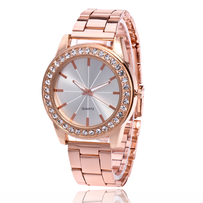 Luxury New Brand Gold Crystal Rays Casual Quartz Watch Women Stainless Steel Dress Watches Ladies Wrist Watch Relogio Feminino luxury brand watches for men binger dress watch casual crystal automatic wrist steel wristwatch relogio feminino reloj