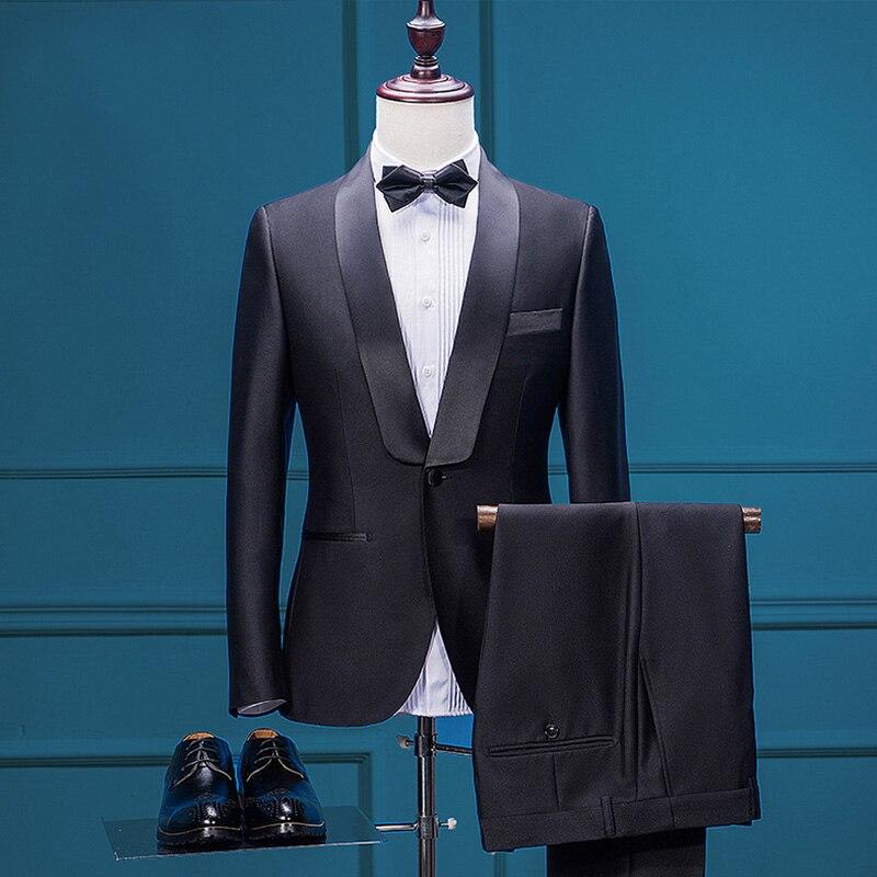 2017 Costume De Mariage avec Pantalon Smokings de Marié Groomsman Costume Sur Mesure Hommes Costume Robe De Mode Blazer Noir Hommes Costume Automne Survêtement