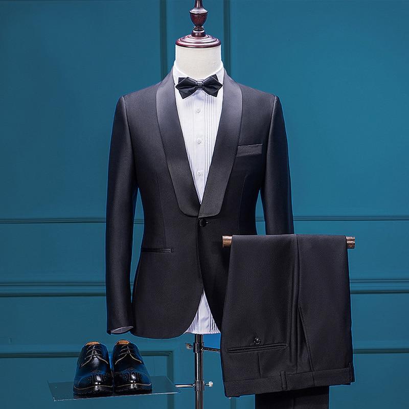 2017 Vestito Da Sposa con Mutanda Smoking Dello Sposo Groomsman Suit Personalizzato Abito da Uomo Vestito Da Modo Blazer Nero Vestito Degli Uomini Tuta Sportiva di Autunno