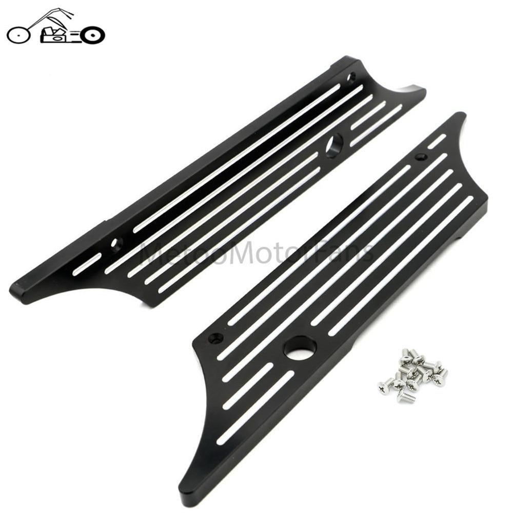Motofans- Black/Chrome Billet Saddlebags Deep Cut Saddle Bag Latch Cover W/ Screws for Harley Touring Models Hard Bags 1993-2009