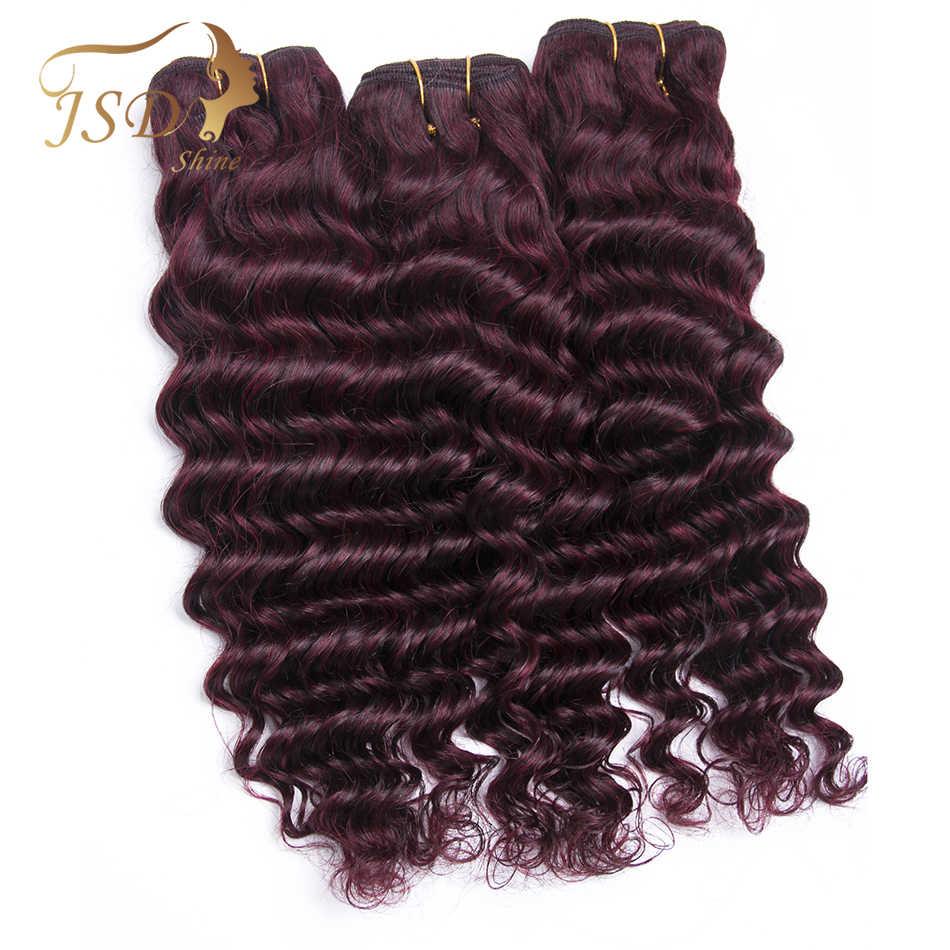 JSDShine Бразильские глубокие пучки волнистых волос бордовые 99J Красные 100% человеческие волосы переплетения не завитые здоровые волосы бесплатная доставка