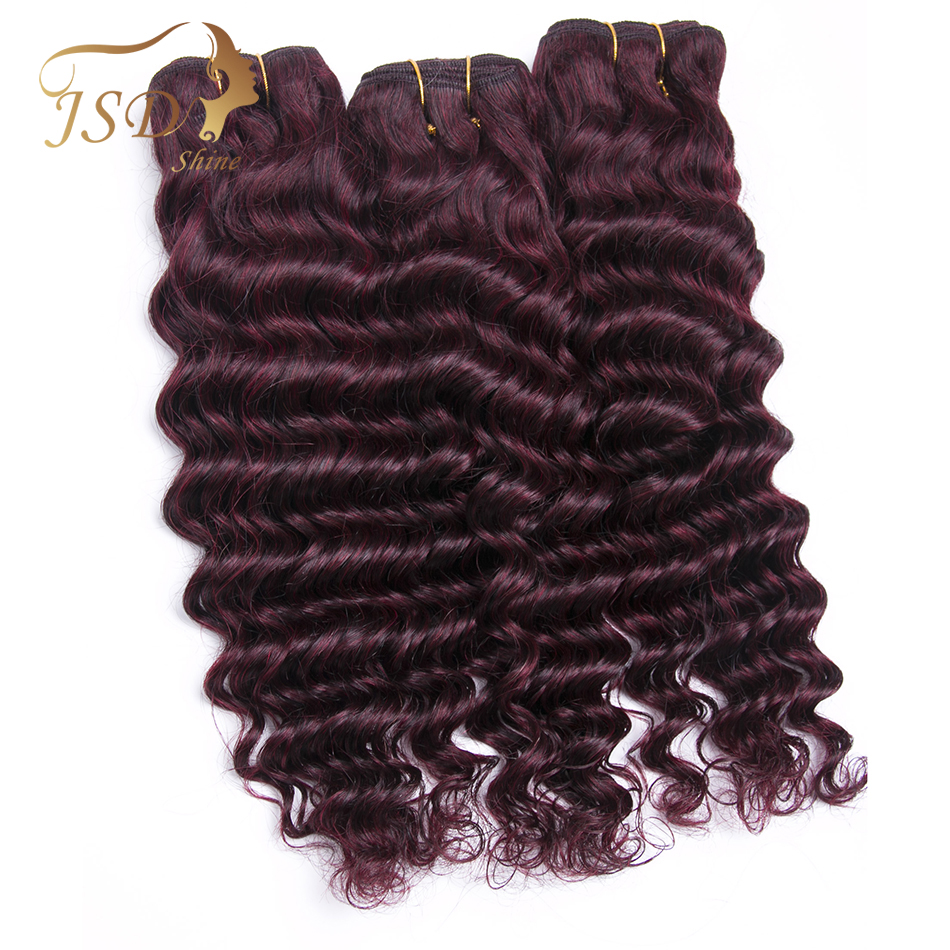 JSDShine Indian Deep Wave Hair Bundles Burgundy 99J Red 100% Human Hair Weave Extensions Non Remy Hair Weaving Free Shipping