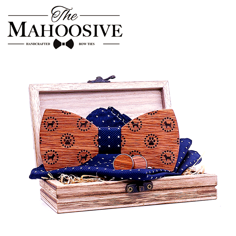 Wood Bow Tie Solid Business Bowtie Men Vintage Dog Printed Wood Bow Tie Pocket Square Handkerchief Cufflinks With Box Set