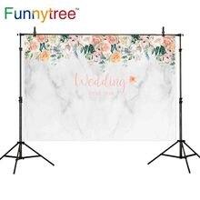 Funnytree photocall wedding backdrops white marble flowers custom photography background for photo shoot photobooth photozone