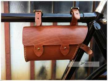 Vintage old bicycle Vintage Bicycle Bag beam packet pure hand-sewn leather tool bag phone package - SALE ITEM Sports & Entertainment