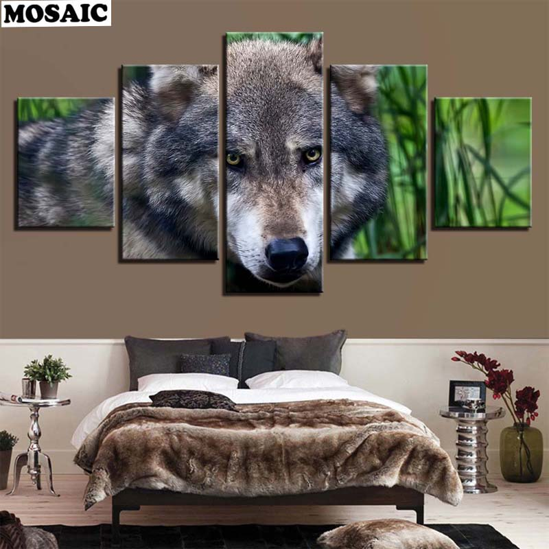 diy Diamond Painting 5pcs Animal Snow wolf Combination 5D DIY Full Square diamond Embroidery Mosaic Home Decor painting