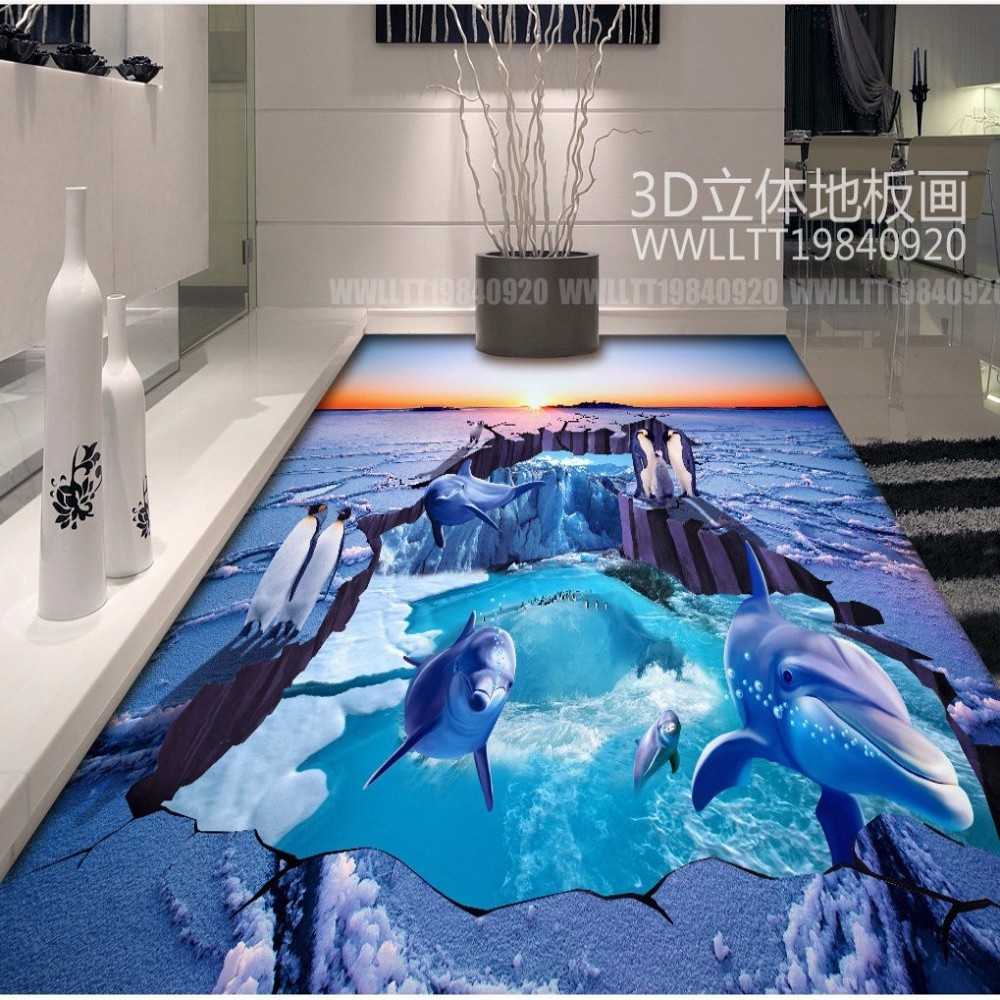 Free Shipping Glacier Penguin Bathroom 3D Floor Tile office lobby PVC waterproof flooring wallpaper mural
