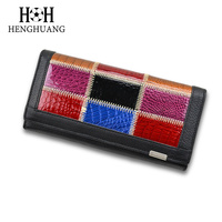 HH Leather Vintage Clutches Purse Genuine Leather Women S Wallets Zipper Coin Purse Day Cluthes Bags