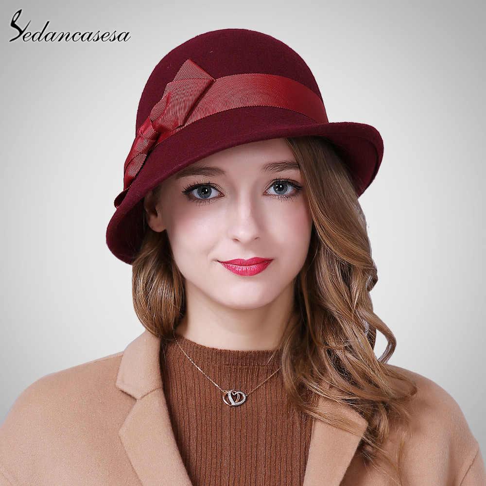 6428d6a174f Sedancasesa Autumn Winter Female hats cloche ladies England Retro  Australian wool Felt Hat Bow Bucket hats