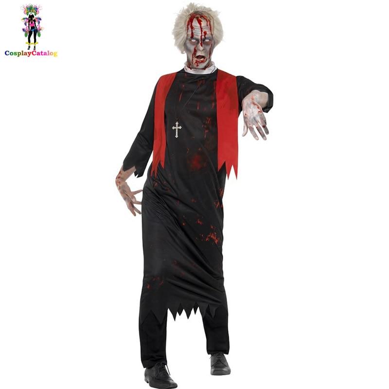 Halloween Mens Zombie High Priest Costume Adult Man Bloody