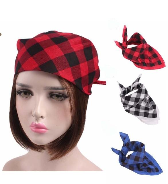580f77f8a6f67 New fashion 100% cotton Plaid checked Head Wrap Bandanas Tube Face Mask Headband  Durag Caps Head Wrap For Mens