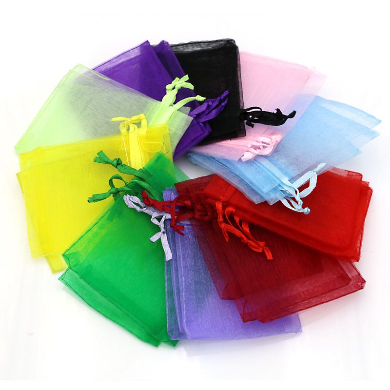 25pcs/bag Mixed Color Jewelry Packaging Drawable Organza Bags 7x9cm Gift Bags & Pouches Packing Bags