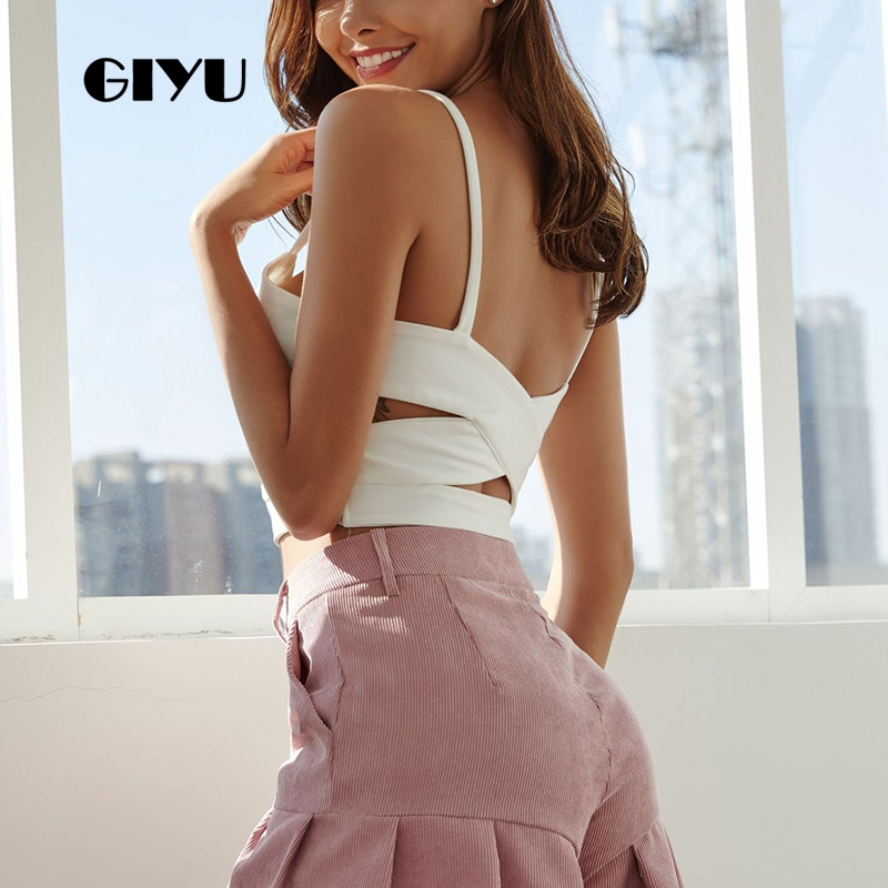 GIYU Summer Hollow Out Camis Open Back Skinny Crooped Women Sexy Tie Up Strap Short Tops Female crop top debardeur femme in Camis from Women 39 s Clothing