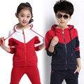 2017 новая коллекция весна марка костюм детей весной и осенью мальчик и девушки спортивный набор с капюшоном комплект одежды 12-14 возраст детей одежда мальчики
