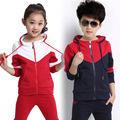 2017 new spring brand children suit spring and autumn boy and girl sports set hooded clothing set 12-14 age kids clothes boys