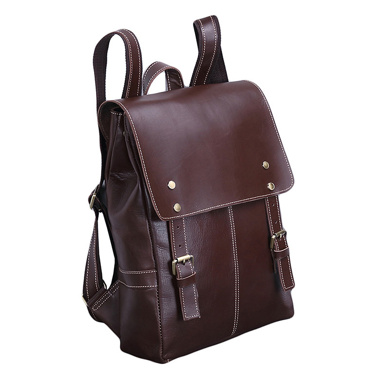 Genuine Leather Business Casual Backpack Men First Layer Cowhide Retro Travel Backpack Fashion Cow Leather Outdoor Computer Bag