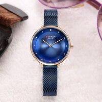 CURREN Analog Quartz Lady Watch Women Watches Luxury Famous Brand Fashion Casual Mesh Stainless Steel Bracelet Wristwatches 9029