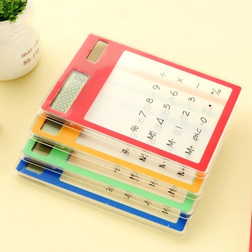 Solar Ultra Slim Touchscreen LCD 8 Digit font b Electronic b font Transparent Calculator Home Office
