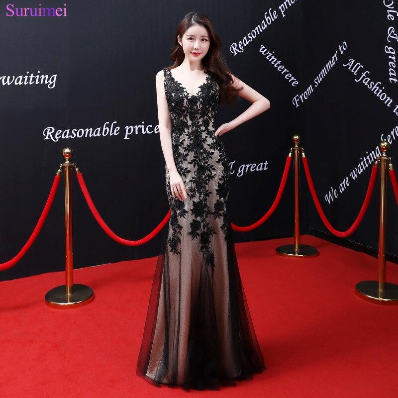 2018 nouveauté Vintage robes de soirée de haute qualité Tulle dentelle appliques Spaghetti bretelles Robe de soirée noir Robe de soirée