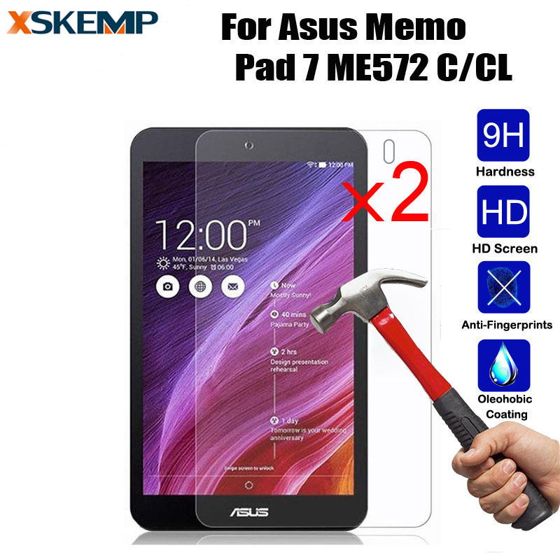 XSKEMP 2Pcs For Asus Memo Pad 7 ME572 C/CL HD Tempered Glass Screen Protector Tablet PC Film 2.5D Edge 9H Transparent Ultra-thin