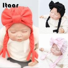420732d3b24 3 Colors Topknot Headband Baby Turban Cap Toddler Beanie Cute Infant Baby  Bow Hat Lovely Candy